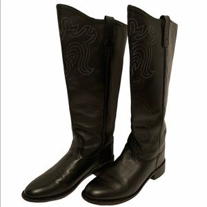 Old west tall black leather boots women's size 9.5
